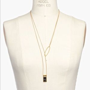 NWOT Madewell Ellipse Stone Necklace in Metallic